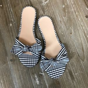 J.Crew black and white gingham Print bow sandals